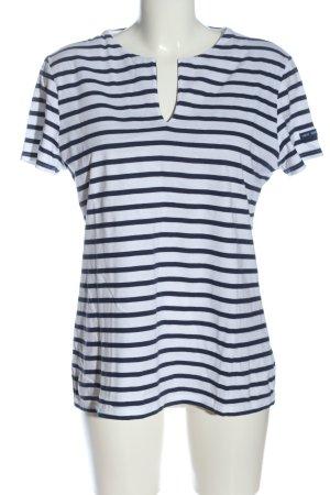 Saint James T-shirt rayé blanc-bleu motif rayé style décontracté