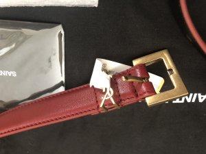 Saint Laurent Ceinture en cuir rouge foncé cuir