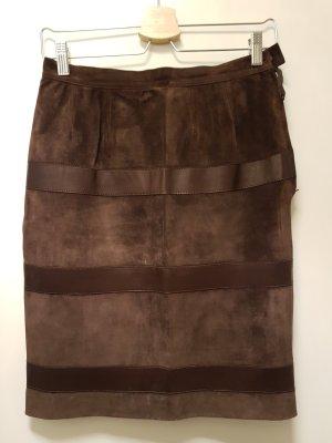 Saint Laurent Falda de cuero marrón-marrón oscuro
