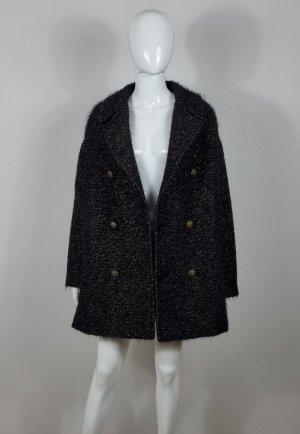 Saint Laurent Short Coat black-gold-colored wool