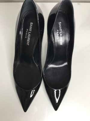 SAINT LAURENT Olymp Pumps Mid Heel Black/Silver