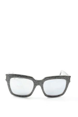 Saint Laurent ovale Sonnenbrille schwarz-weiß Casual-Look