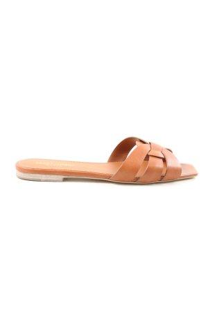 """Saint Laurent Babouche """"Nu Pieds Slide Sandals"""" brun"""