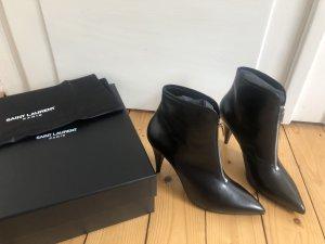 Saint Laurent Bottillons noir-argenté cuir