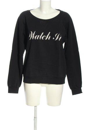 Saint Laurent Sweatshirt noir-blanc lettrage imprimé style décontracté