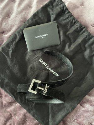 Saint Laurent Cinturón de cuero negro-color plata