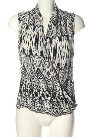 Saint Tropez ärmellose Bluse schwarz-weiß abstraktes Muster Business-Look