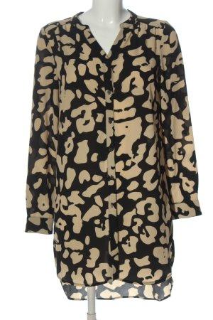 Saint Tropez Robe chemisier noir-crème motif abstrait style décontracté