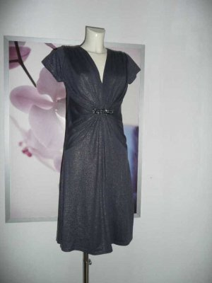 Saint Tropez Kleid Dress in Grau Anthrazit m Allover Glitter Gr L Glam Style