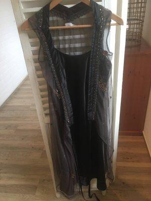 Saint Tropez Kleid nougat braun mit Unterkleid und Pailletten Gr  S/36
