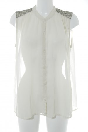 Saint Tropez Camisa de manga corta crema-color plata elegante