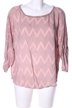 Saint Tropez Langarm-Bluse pink-hellgrau grafisches Muster Elegant