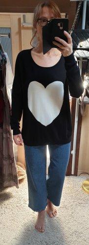 Saint Tropez Oversize Pullover Longpullover Strickpullover schwarz S / M