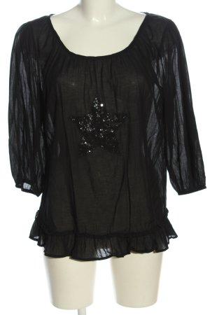 Saint Tropez Schlupf-Bluse schwarz Motivdruck Glanz-Optik