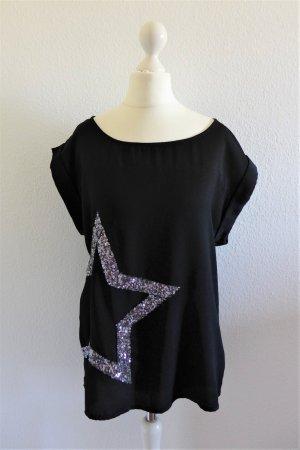 Saint Tropez Shirt Oberteil Top schwarz silber Stern Pailletten Gr. S 36 NEU