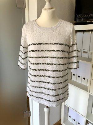 Saint Tropez Gestreept shirt wit-khaki