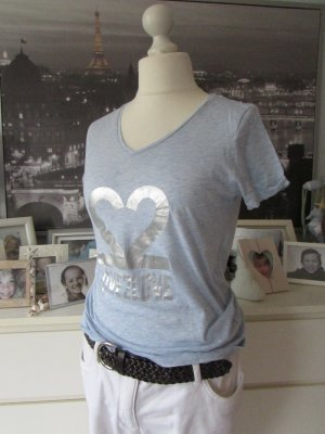 Saint Tropez * Süßes Sommer V-Shirt * hellblau silber Print * XL=40/42