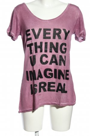 Saint Tropez T-Shirt pink-schwarz Motivdruck Casual-Look
