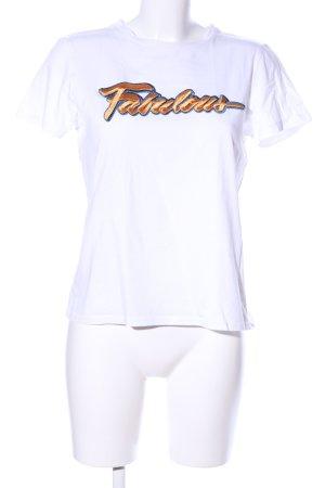 Saint Tropez T-Shirt weiß Schriftzug gestickt Casual-Look