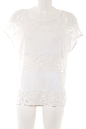 Saint Tropez T-Shirt weiß Spitzenbesatz