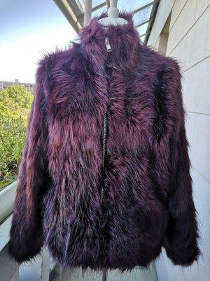 Saint Tropez Veste en fausse fourrure rouge mûre-violet