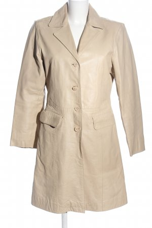 SAKI Sweden Leather Coat natural white casual look