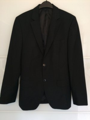 s.Oliver Pinstripe Suit black-silver-colored polyester