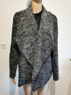 SALE - 5 für 4 - Cool Code Damen Cardigan Wasserfall grau schwarz meliert Größe 40