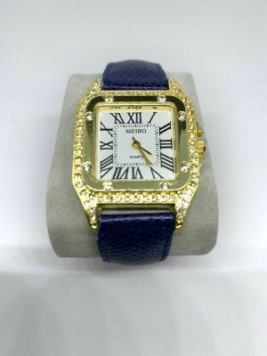 Watch With Leather Strap gold-colored-dark blue