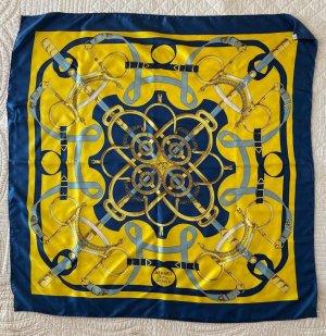 Hermès Écharpe en soie jaune-bleu