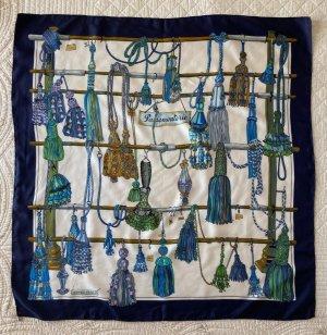 Hermès Écharpe en soie blanc-bleu foncé