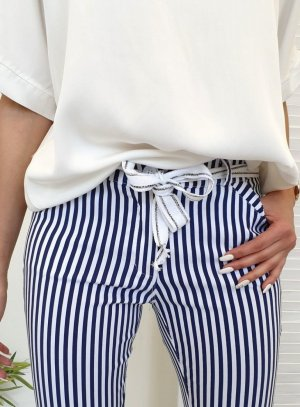 7/8 Length Trousers white-blue