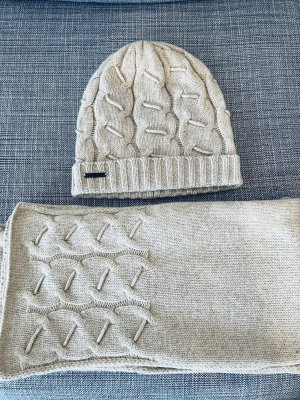 Seeberger Bufanda de lana blanco puro-beige Cachemir
