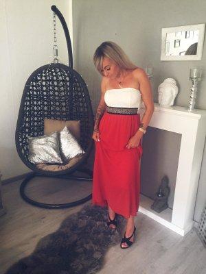 SALE ⋙•-•-•-•➤Maxikleid mit BLING BLING in rot/ weiß Abendkleid Schulterfreies langes Kleid Blogger Bandeaukleid Sommerkleid Partkleid Einteiler Neu m. Etikett 36-40 ◉