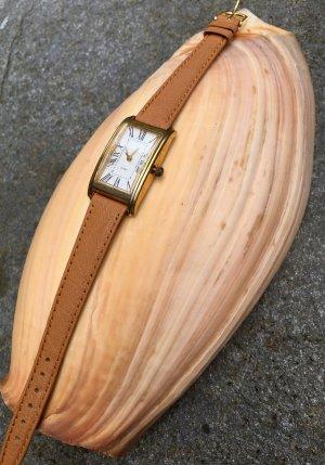 sale:'Tank'-watch, used, NEUE Batterie+ Neu Echtlederband hellbraun-edel