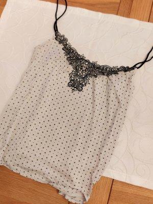 H&M Top z cienkimi ramiączkami czarny-jasnobeżowy