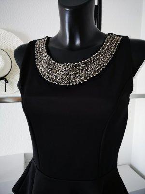 SALe ⋙•-•-•-•➤Vokuhila Bluse Peplum Schösschen NEU Tunika Top Shirt mit Statement Kette Blogger Style 36-40