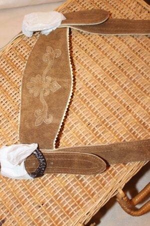 Pantalone in pelle tradizionale marrone chiaro-crema Pelle