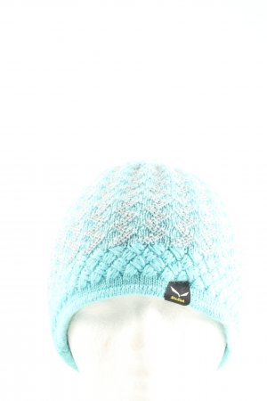 Salewa Knitted Hat turquoise-light grey cable stitch casual look