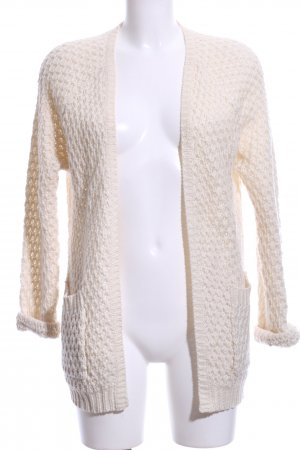 Sally&Circle Crochet Cardigan cream cable stitch business style