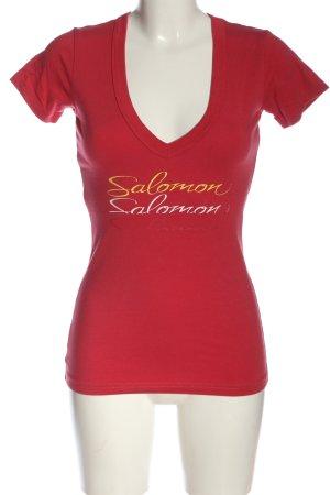 Salomon T-shirt col en V lettrage imprimé style décontracté