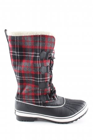 Sketchers Winterstiefel schwarz-rot Karomuster Casual-Look