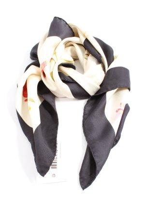 Salvatore ferragamo Écharpe en soie blanc cassé-noir motif de fleur