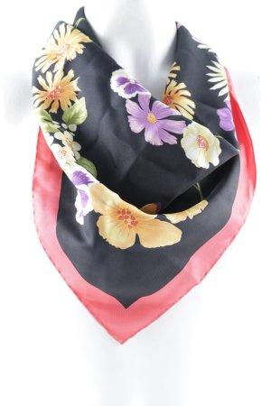 Salvatore ferragamo Foulard en soie noir-rouge clair motif de fleur