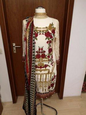 Saira Rizwan Vestito da spiaggia bianco sporco-rosso