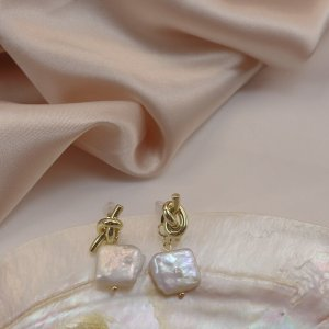 Pearl Earring gold-colored-white metal