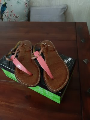 Sam edelman Toe-Post sandals brown-neon orange