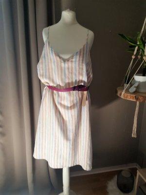 sam & Lavi Spaghettiträger Gr 42 L 100 % Baumwolle Kleid Gestreift Neu mit Etikett