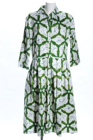 Samantha sung Hemdblousejurk wit-groen Patroon-mengeling casual uitstraling