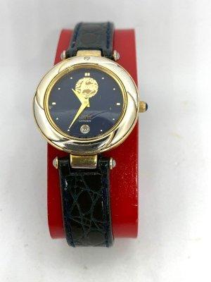 Citizen Horloge met lederen riempje goud-blauw
